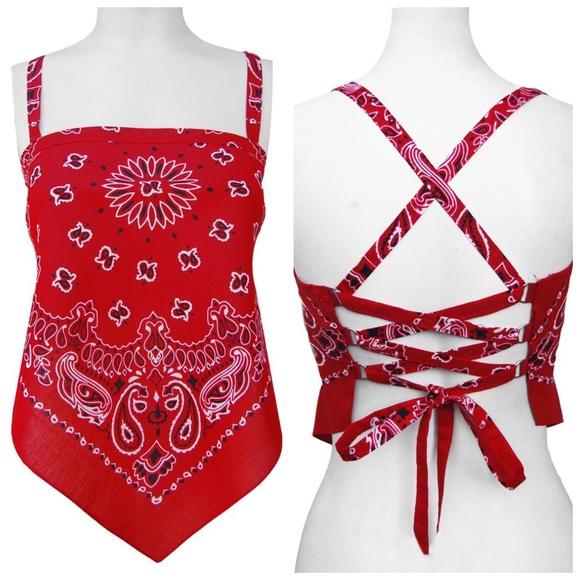 a29ca558d908 Girls Gone Biker Tops - GIRLS GONE BIKER red bandana corset halter top